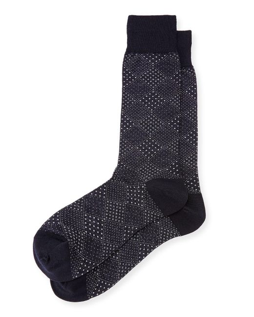 Neiman Marcus - Blue Pin-dot Diamond Wool Socks for Men - Lyst