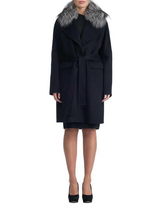 Gorski - Black Double-face Cashmere Short Coat W/ Fox Fur Collar - Lyst