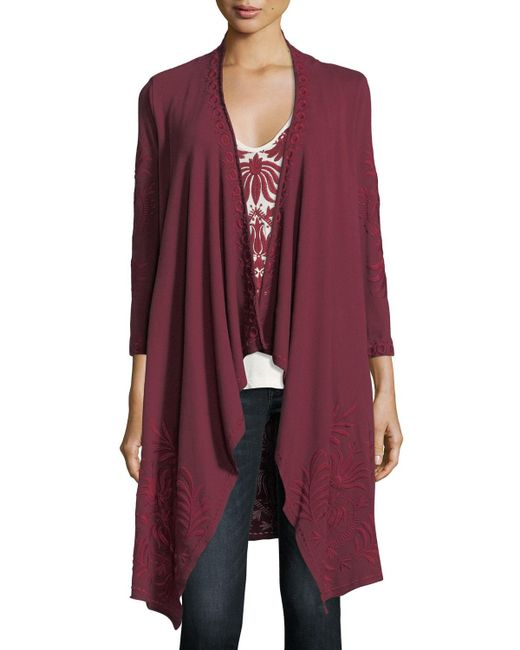 Johnny Was | Saskla Embroidered French Terry Cardigan | Lyst