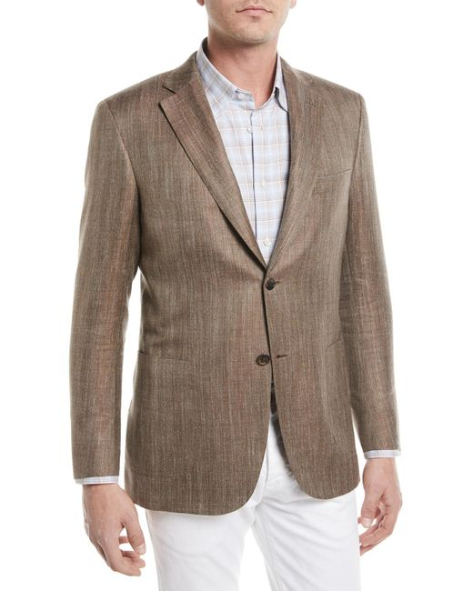 Brioni - Brown Wool/silk/linen Herringbone Blazer for Men - Lyst