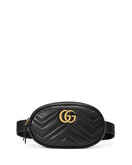 d82115122a0e Gucci GG Marmont Matelassé Leather Belt Bag in Black - Lyst