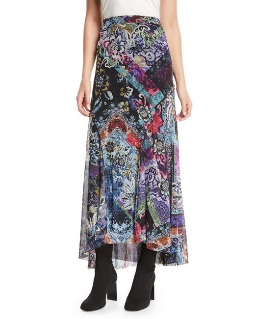 Fuzzi - Black Floral-print Long Godet Skirt - Lyst