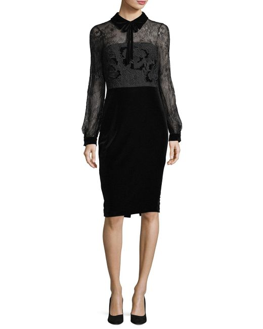 Badgley Mischka - Black Collared Lace-top Velvet Cocktail Dress - Lyst