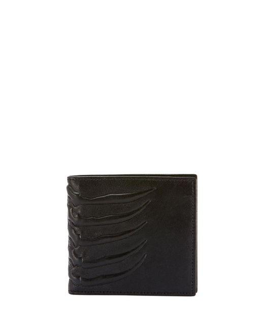 Alexander McQueen - Black Men's Rib Cage-embossed Leather Bi-fold Wallet for Men - Lyst
