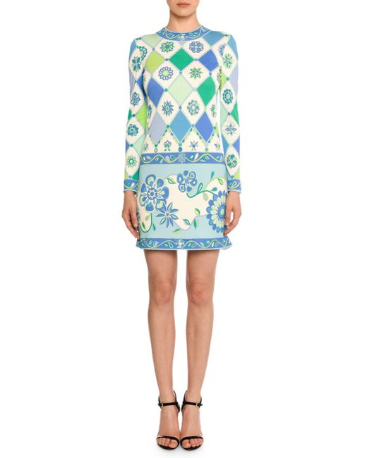 Emilio Pucci - Blue Long-sleeve Round-neck Wallpaper-print Sheath Dress - Lyst