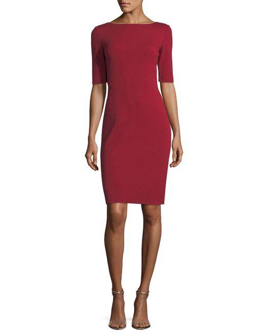 Lafayette 148 New York - Red Asymmetric-seamed Punto Milano Sheath Dress - Lyst