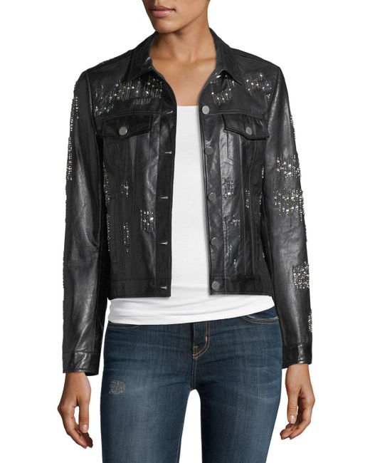 Neiman Marcus - Black Leather Crystal Motorcycle Jacket - Lyst