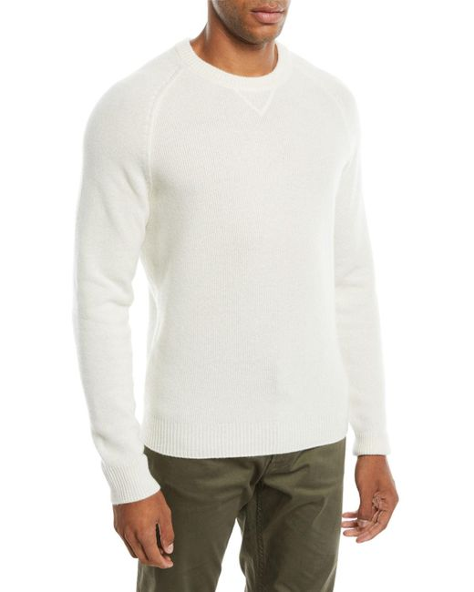 Neiman Marcus - White Men's Ribbed Cashmere Pullover Sweater for Men - Lyst