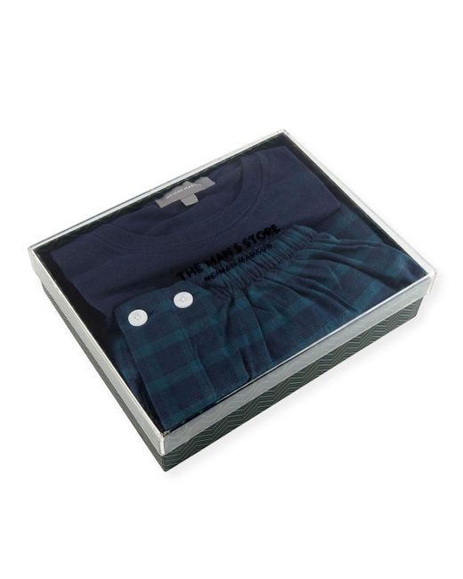 Neiman Marcus - Blue Two-piece Plaid Pajama Gift Set - Lyst