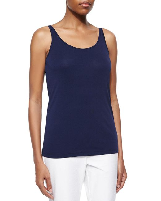 Eileen Fisher - Blue Silk Jersey Long Slim Camisole - Lyst