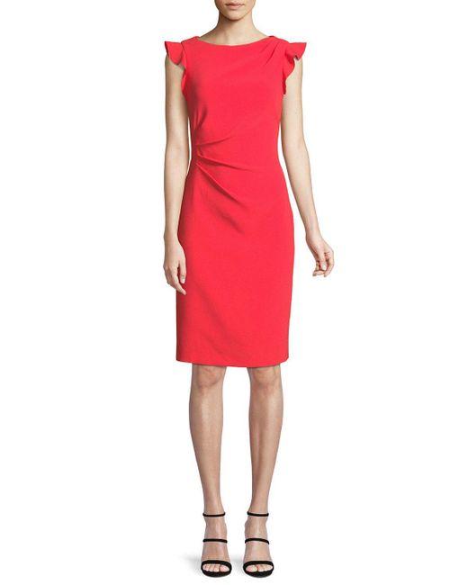 Elie Tahari - Red Elsie Boat-neck Ruffle-trim Sunburst Sheath Dress - Lyst