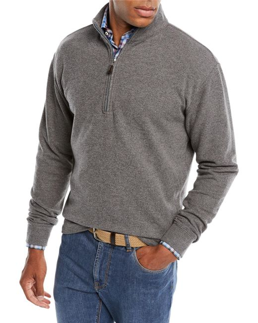 Peter Millar - Gray Melange Tri-blend Fleece 1/4-zip Sweater for Men - Lyst