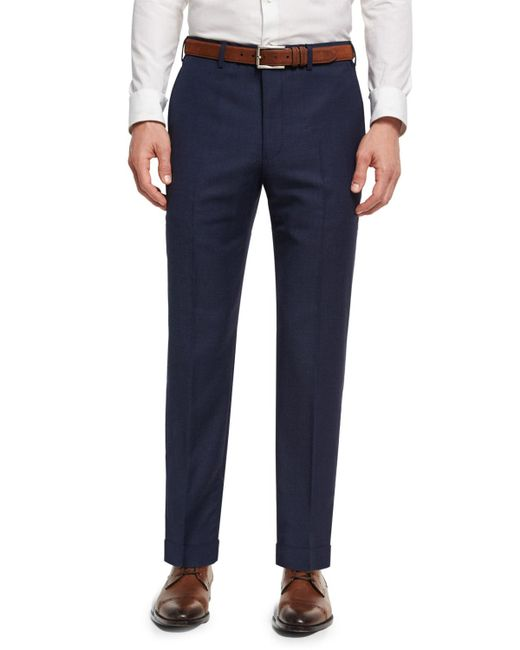 Giorgio Armani - Blue Soho Micro-check Hopsack Wool Pants for Men - Lyst