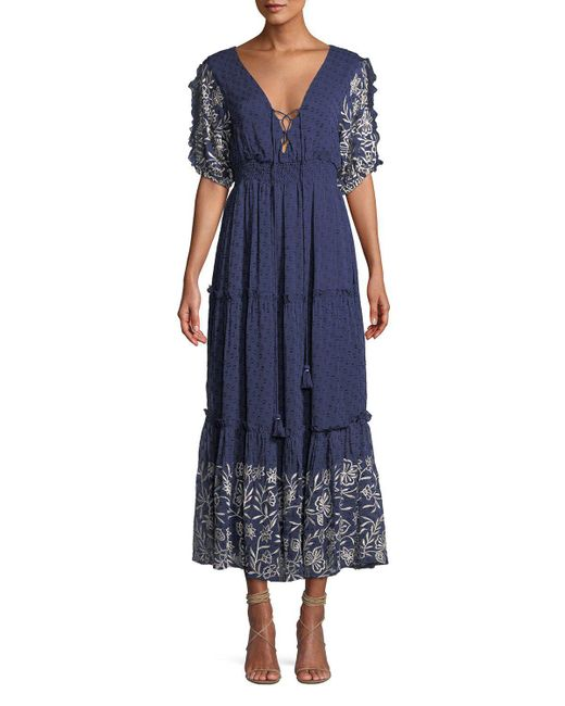 MISA - Blue Lunah Printed Ruffle Maxi Dress - Lyst
