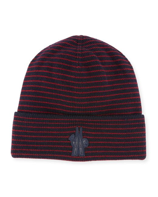 Lyst - Moncler Striped Wool Logo Beanie Hat in Red for Men dfcf5e0ef55a