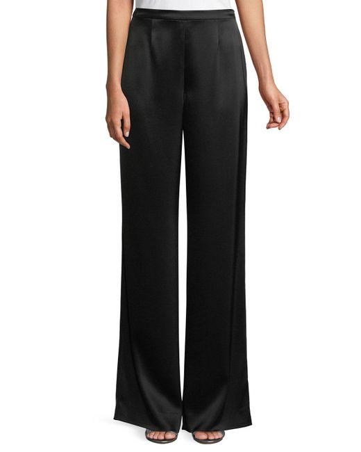 St. John - Gray Kate Satin Wide-leg Pants - Lyst