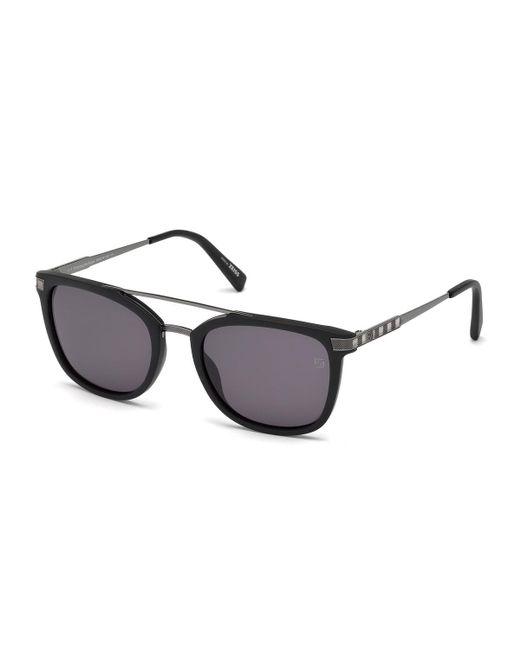 Ermenegildo Zegna - Multicolor Acetate & Chevron Metal Rectangular Glasses for Men - Lyst