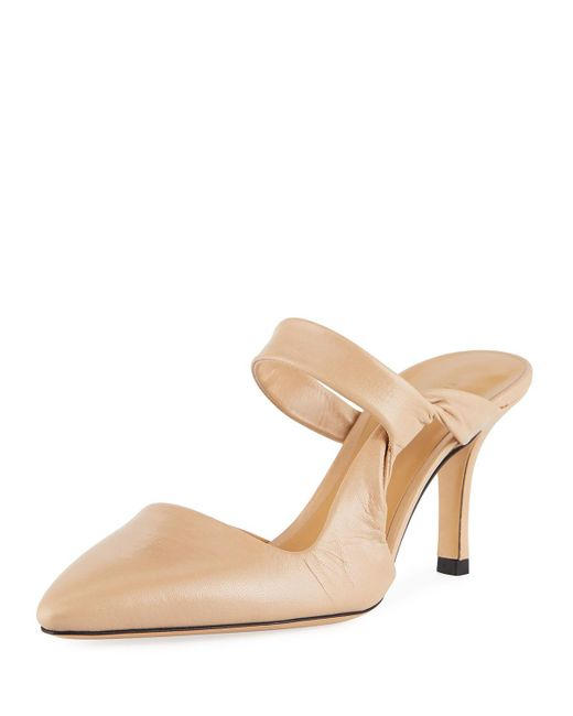 The Row - Natural Gala Twist Leather Mule Pumps - Lyst