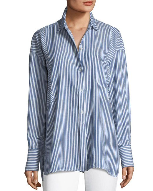 3f3281f495a5 Lyst - Vince Classic Stripe Long-sleeve Tunic Shirt in Blue - Save 20%