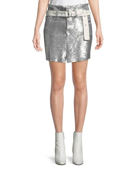 IRO - Gray Natou Belted Sequined Mini Skirt - Lyst