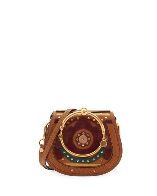 Chloé | Brown Nile Small Floral Bracelet Bag | Lyst