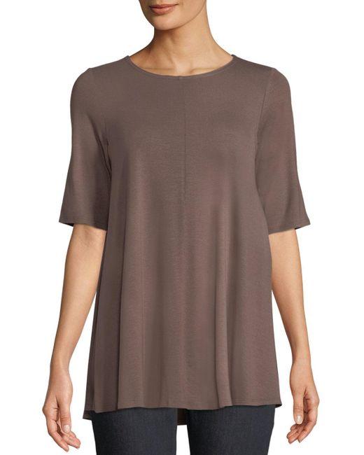 Eileen Fisher - Brown Short-sleeve Jersey Tunic - Lyst