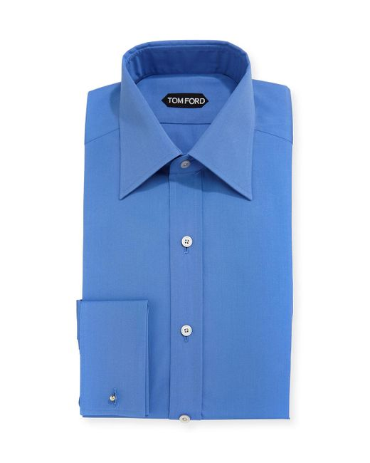 Tom ford solid color french cuff slim fit dress shirt in for French cuff slim fit dress shirt