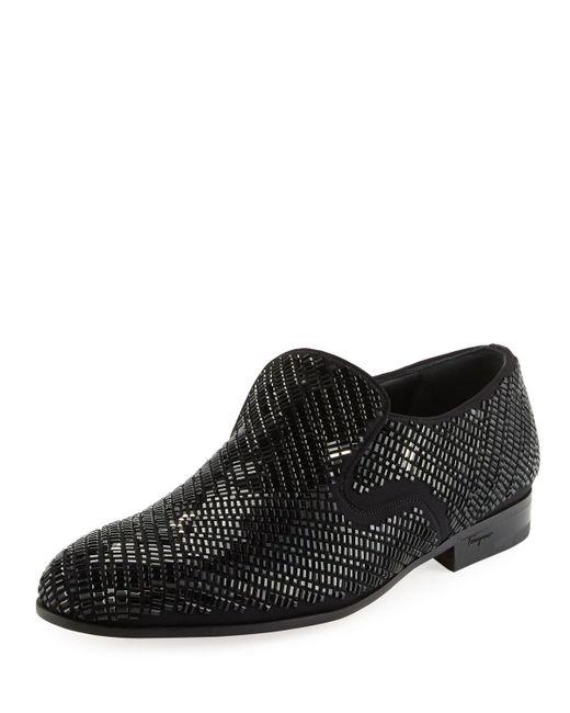 Ferragamo | Black Delroy 2 Crystal-studded Formal Loafer for Men | Lyst