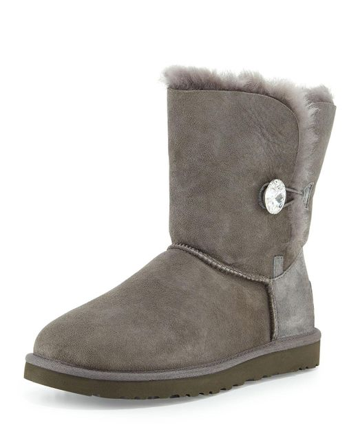 Ugg - Gray Bailey Bling Button Boot - Lyst
