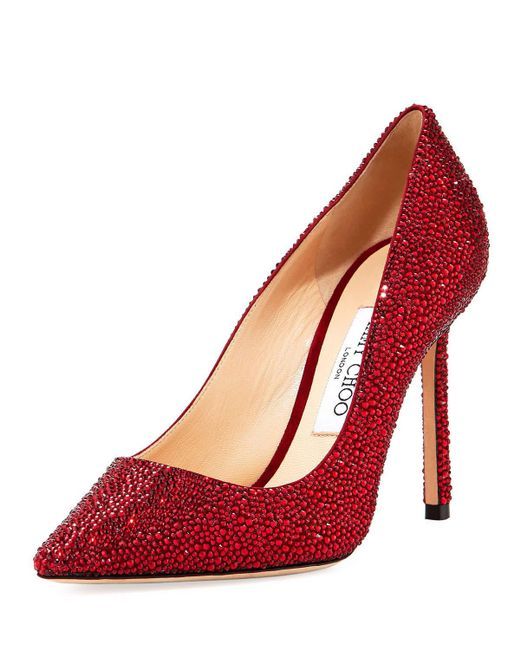 Jimmy Choo - Red Romy 100mm Suede Pumps With Crystals - Lyst
