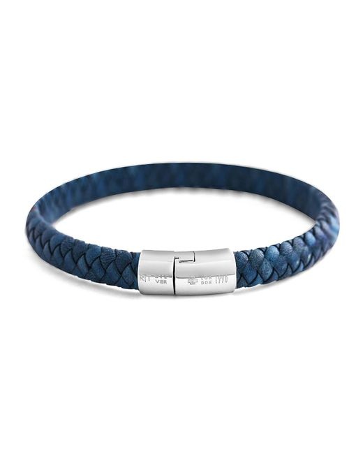 Tateossian - Blue Men's Classic Braided Leather Cobra Bracelet for Men - Lyst