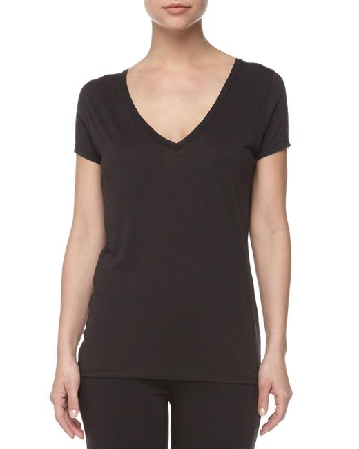 Skin - Black Easy V-neck Cotton Tee - Lyst