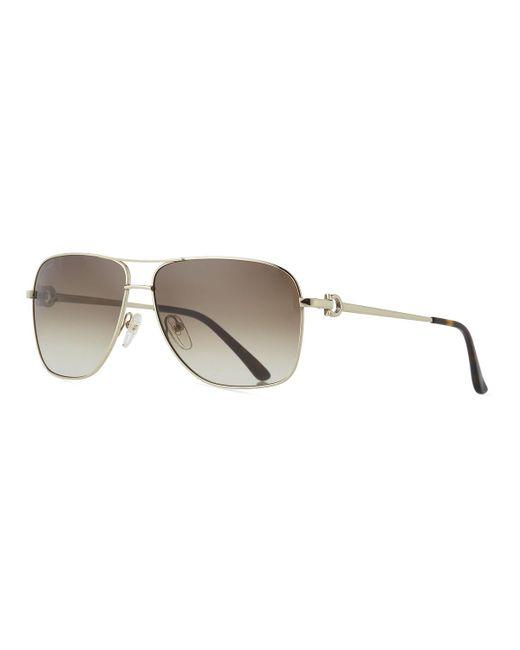 Ferragamo - Metallic Men's Signature Metal Navigator Sunglasses for Men - Lyst