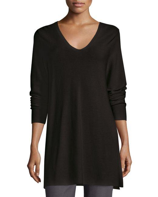Eileen Fisher | Gray Crisp Cotton Links Long-sleeve V-neck Tunic | Lyst
