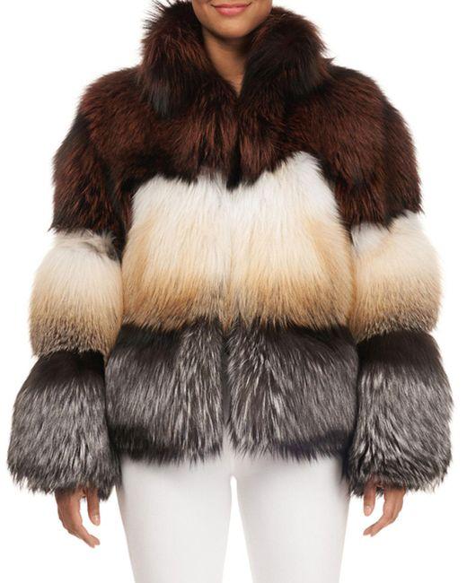 Gorski - Multicolor Three-tone Fox-fur Jacket - Lyst