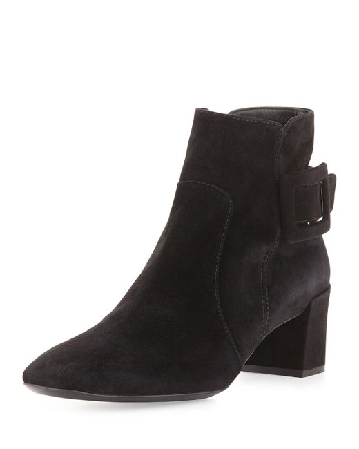 Roger Vivier - Black Polly Suede Side-buckle Ankle Boot - Lyst