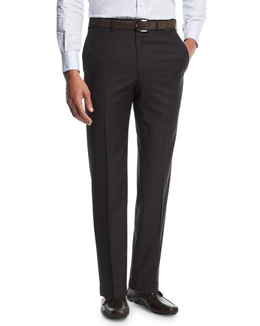 Brioni - Gray Sharkskin Flat-front Trousers for Men - Lyst
