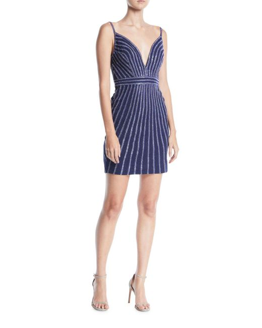 Jovani - Blue Plunging Striped Beaded Jersey Mini Cocktail Dress - Lyst