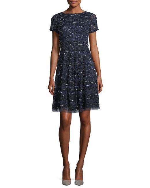 Aidan Mattox - Blue Short-sleeve Sequined Cocktail Dress - Lyst