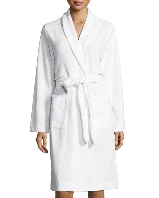 Hanro - White Plush Basic Tie-waist Robe - Lyst