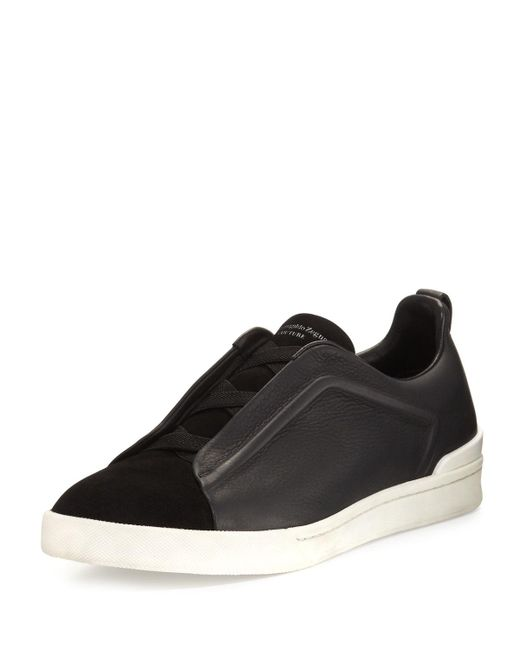 Ermenegildo Zegna - Couture Triple-stitch Leather & Suede Low-top Sneaker Black for Men - Lyst