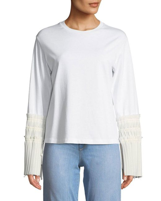 3.1 Phillip Lim - White Long-sleeve Crewneck Top With Pleated Cuffs - Lyst