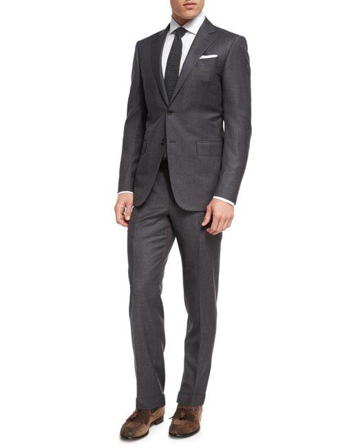Ermenegildo Zegna - Gray Striped Wool Two-piece Suit for Men - Lyst