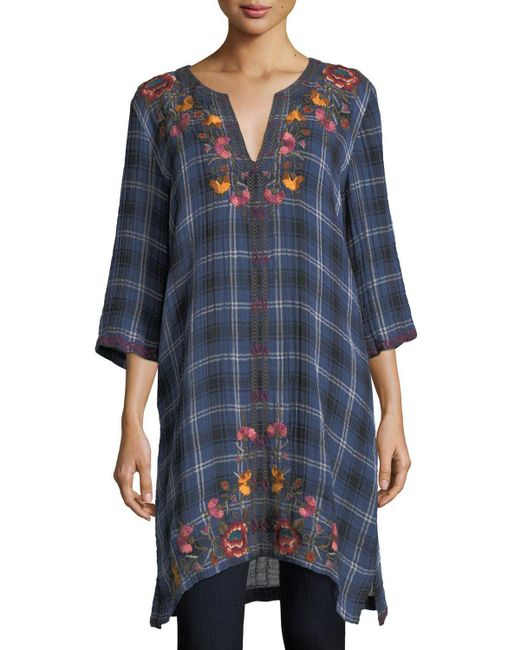 Johnny Was | Blue Bonnie 3/4-sleeve Embroidered Plaid Short Caftan | Lyst