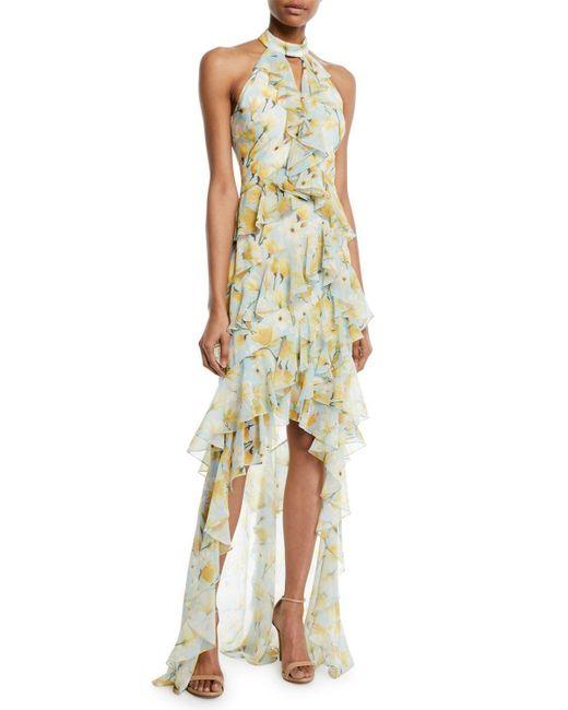 Badgley Mischka - Blue Floral High-low Ruffle Halter Gown - Lyst