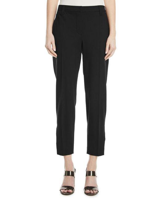 Brunello Cucinelli - Black Straight-leg Lightweight Wool Cropped Pants W/ Split Hem - Lyst