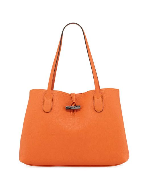 a3f79e57d04e Longchamp - Orange Roseau Essential Medium Leather Shoulder Tote Bag - Lyst
