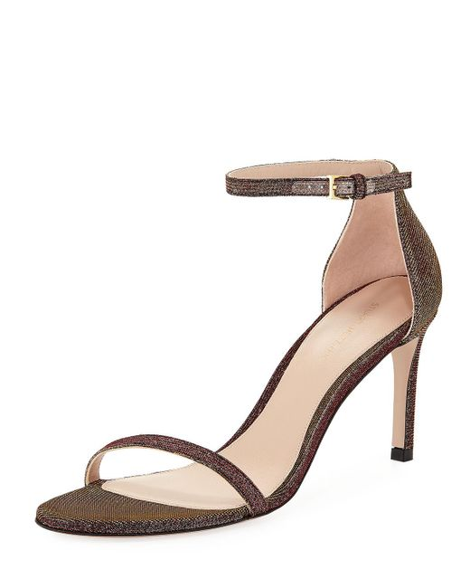 Stuart Weitzman - Natural Women's Nudisttraditional Sparkle Knit High-heel Sandals - Lyst