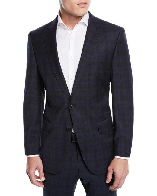 BOSS - Blue Men's Huge Genius Check Slim-fit Two-piece Wool Suit for Men - Lyst