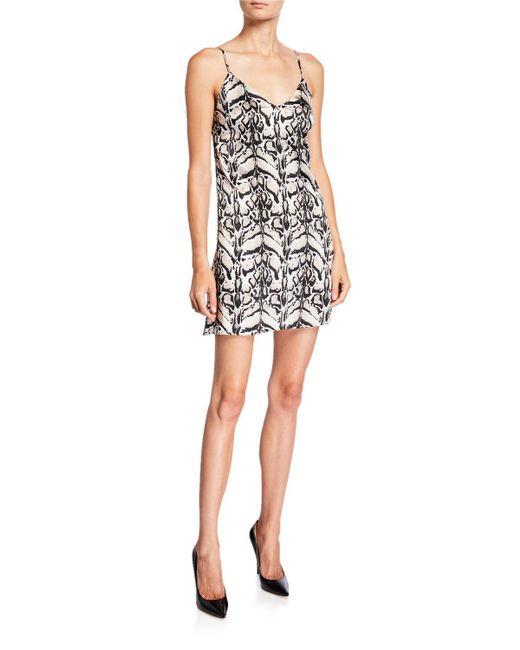 Loyd/Ford Black Tiger Silk Mini Slip Dress